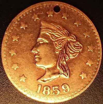 1859 California Gold $2.50 Token. Large, solid 10K gold coin/medal/exonumia.