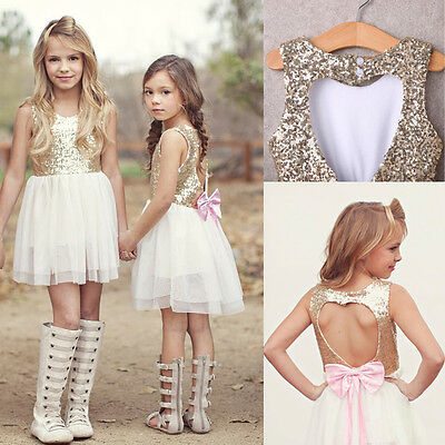 Kids Sequins Baby Flower Girl Dress Bow Backless Party Gown Bridesmaid Dresses