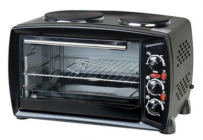 26L Electric Mini Oven Grill with Double Hob Hotplate Ring Portable Cooker AB001