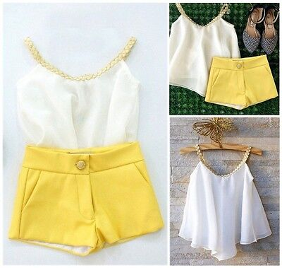 Halter Chiffon Toddler Kids Girl Tops Shirt Shorts Summer Outfits Set Clothes UK