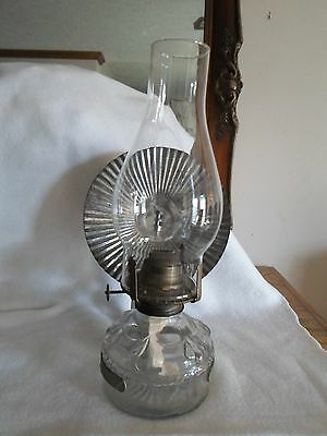 Vintage Eagle Clear Embossed Glass Oil Lamp With Globe And Metal Hanger