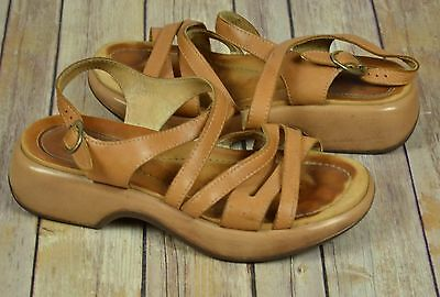 DANSKO Brown Leather Slingback Open Toe Clog Mules Shoes Size 39