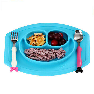 Home One-piece Non-slip Silicone Placemat Divided Dish Happy Face Bowl Plates