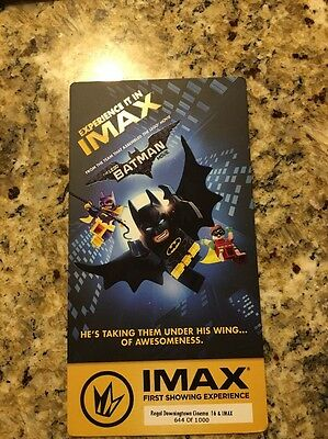 The LEGO BATMAN IMAX Ticket Numbered Exclusive for Regal Cinema