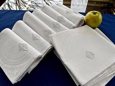 "12 Vintage White Irish Linen 24"" Dinner Napkins Damask Shamrocks Monogram HHR"