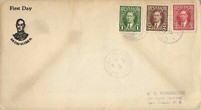 CANADA FDC 1937 # 231-233 1-3c GEORGE VI DEFINITIVES COMBO - ROESSLER CACHET