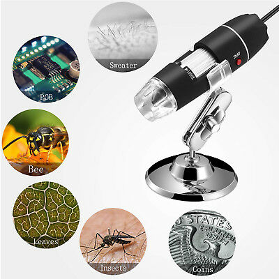 2MP 1000X 8 LED USB 2.0 Digital Microscope Endoscope Zoom Camera Magnifier+Stand