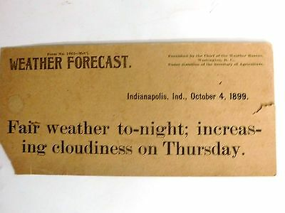 United States Department Of Agriculture Weather Report~Oct. 4, 1899 Indianapolis