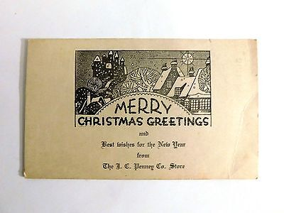 Vintage 1930 J.c. Penney Company Stores ~Christmas Greetings Advertising Card