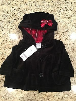 NWT Gymboree Holiday Traditions Black Hooded Coat Size 3-6 Months
