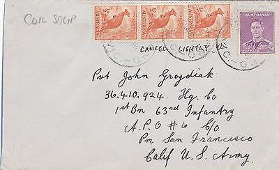 DB547) Australia 1944 small Military Cover to USA bearing strip of 3 COIL PERF