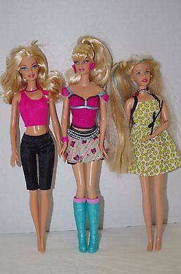 Lot 3 Barbie Dolls Free shipping Mattel With clothes pictured