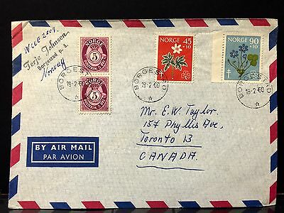 Norway Airmail Cover 1960 to Canada .
