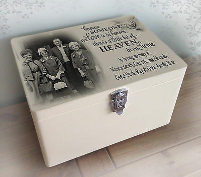 Personalised solid pine white wooden memory box, In loving memory present