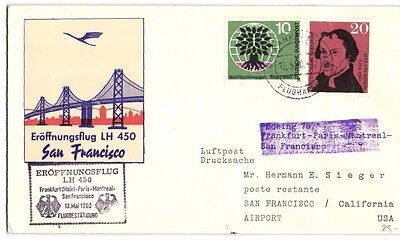 First Flight Cover 1960 Frankfurt To San Francisco On Lufthansa