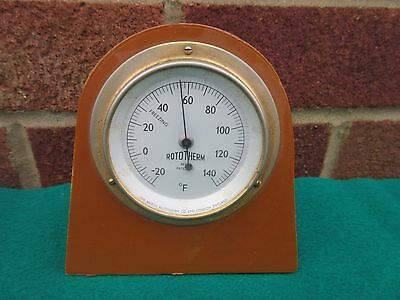 Rototherm Desk Mantle Thermometer Vtg Leather Fascia Hardwood Case Perfect Cond