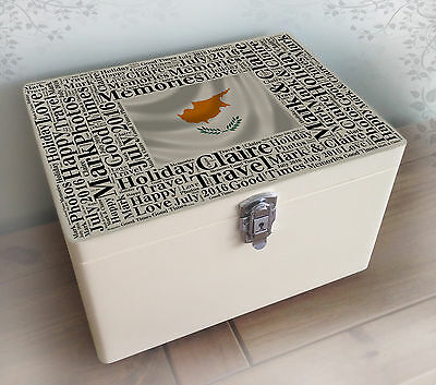 Personalised solid pine white wooden memory box, Cyprus holiday memorial gift