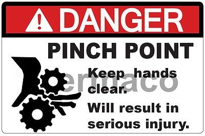 "5x DANGER PINCH POINT SAFETY ANSI OSHA STICKER LABEL GLOSSY POLYESTER 3""X2"""