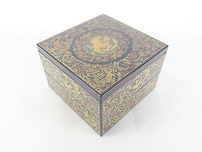 161220 Japanese Tachikichi Makie decorated lacquered wooden 2-tiered Jubako box
