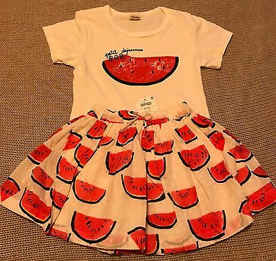 BNWT Girls Next Watermelon Skirt + Top 9-18m