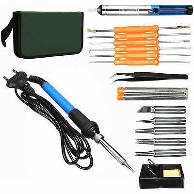 19pcs/set 220V 60W Adjustable Temperature Welding Solder Soldering Iron Tool Kit
