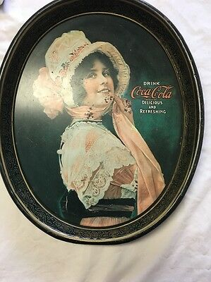 Vintage Oval COCA COLA Metal Tin Serving TRAY 1914 Betty Girl