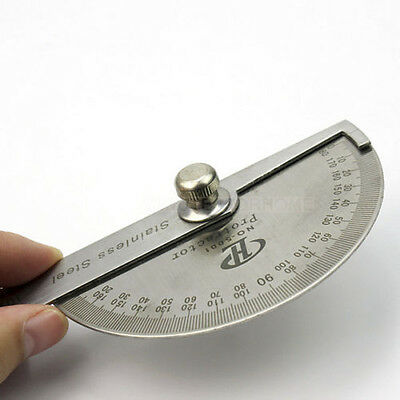 Student Angle Gauge Metal Rotary Protractor Goniometer Ruler Measuring Tool New