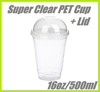 100 16oz Super Clear Cups PET + Dome Lids Plastic Cup Disposable Lid Smoothie