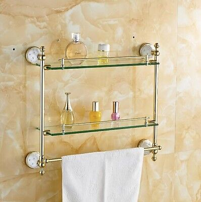 VictorianTempered Double Glass Shelf Bathroom Accessories Solid Brass (Golden)