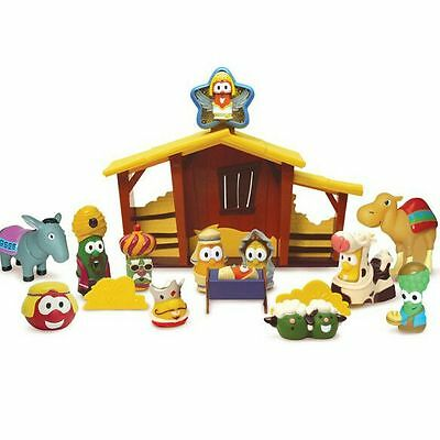*veggie Tales* Nativity Complete Playset Lot W/ Figures Toys Christmas