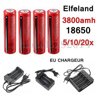 3.7V 18650 3800mAh Rechargeable Battery Batterie Pile Flashlight + EU Chargeur