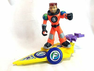"""Fisher Price Planet Heroes ACE Shooting Star Surfboard & Star Launcher 5"""" Figure"""