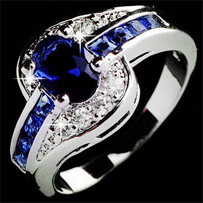 Women Blue Sapphire White Gold Filled Engagement Ring Size 7 8 9 Rings JewelrySL