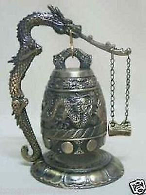 BUDDHISM Exquisite silver famous Tibet Bronze Buddhist Dragon Singing bell lucky