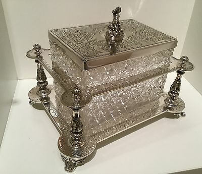 Exquisite Victorian Silver Plate Hand Cut Crystal Biscuit Box by Henry Atkins