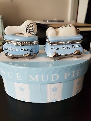 Mud Pie Baby Prince First Tooth and Curl Treasure Box Set