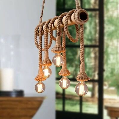 2x Vintage Industrial Hemp Rope Ceiling Hanging Cord Pendant Light Lamp Decor