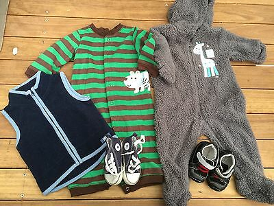 Bulk Baby Boy Carter, Adidas And New Leather Shoes And Overall Size 0 - 6-12 9 M