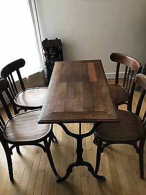 Authentique Table de Bistrot et ses 4 Chaises Excellent Etat Vintage