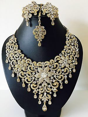 Bollywood Style New Indian Bridal Necklace Set Gold, Silver and Full Gold
