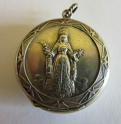 Antique French Religious Reliquary Locket Charm Pendant / Pill Box Pendant 1900s