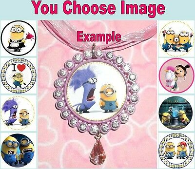DESPICABLE ME Childrens Rhinestone Ribbon Necklace U Choose Image Minions Disney