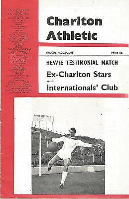 Football Programme - Ex-Charlton Stars v Internationals' Club - Testimonial 1966