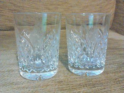 Vintage Pair Of Cut Glass Whisky Whiskey Tumblers Glasses 7.5Cm Tall Excellent