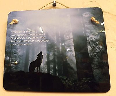 Wolf wall hanging , positive saying wall plaque , wolves design on wall art