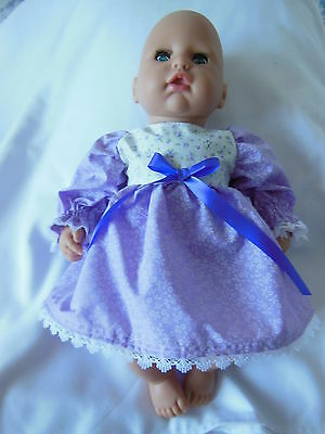 "Dolls Clothes For First Baby Annabell Or Any 13"" Doll Pretty Dress Hand Made"