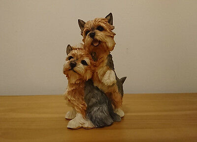 Country Artists Large  Yorkshire Terrier Pair Hand Painted And Crafted