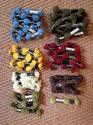 57 DMC Tapestry Wool Skeins -  plus 1/2 finished Canvas cushion/footstool