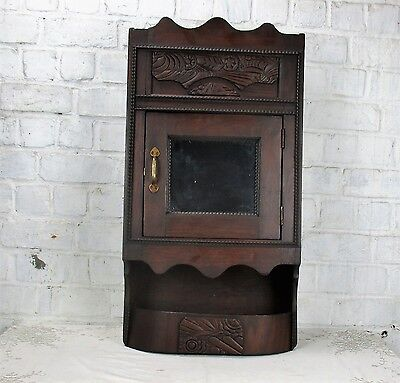 Vintage Gorgeous Kitchen Medicine Bathroom Cabinet Apothecary Mirror Plied Wood