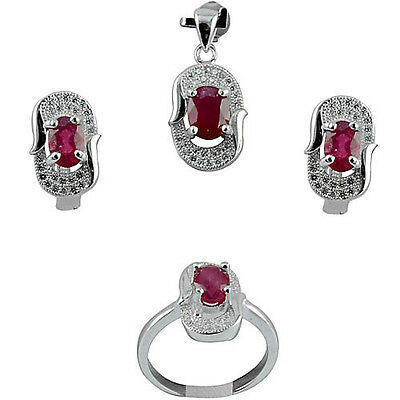 Genuine Natural Blood Red Ruby Oval & White Cz Sterling 925 Silver Jewelry Set